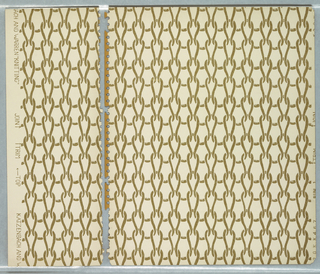 Pattern with motif of enlarged stockinette knitting stitch diagram; color scheme of brown on cream ground.