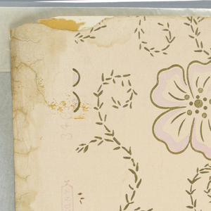 Pink-cream ground with orchid flowers, five-petaled, outlined with gilt. Silver leaved vines. Made by W.C. Campbell and Co., No. 3461.