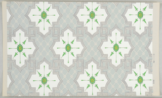 On pale gray ground with pale turquoise diaper-fill pattern, pattern of continuing interlocking strapwork outlined in gray marking off repeating symmetrical figures, each with fill of white and with a central bright green ornament with bright yellow center circle.