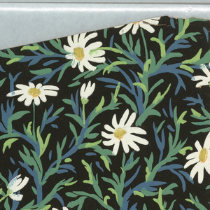 """All-over pattern of daisies with blue and green stems irregularly arranged on black ground; each flowerhead and stem is unique, seemingly marked out in quick brushstrokes; on the trim the pattern is identified as """"Marguerites"""""""