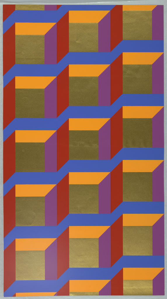Hard-edged graphic pattern of metallic gold squares bound by crossing horizontal zig-zagging bands of bright blue and by shorter bandings of brightest red, lavender, apricot.