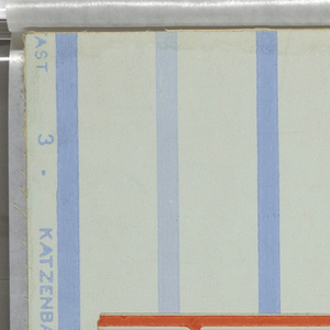 a) Narrow stripes (alternately light and middle blue) on a pale blue ground; b) border in design of red stars on pale blue ground with straight border in blue on one side and angular borders in two shades of blue and red on the other.
