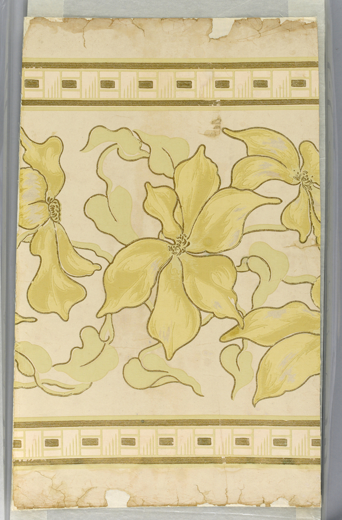 Floral border motif, large scale flower with large petals in pastel chrome yellow and sage green, very delicate shades on ivory field. Flowers and leaves outlined in gilt. A basket weave pattern at top and bottom with gilt bands on either side. This design to be used as a border.