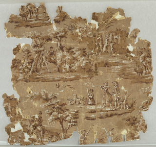 Vignettes of country pursuits, printed in tones of brown and white on tan background.