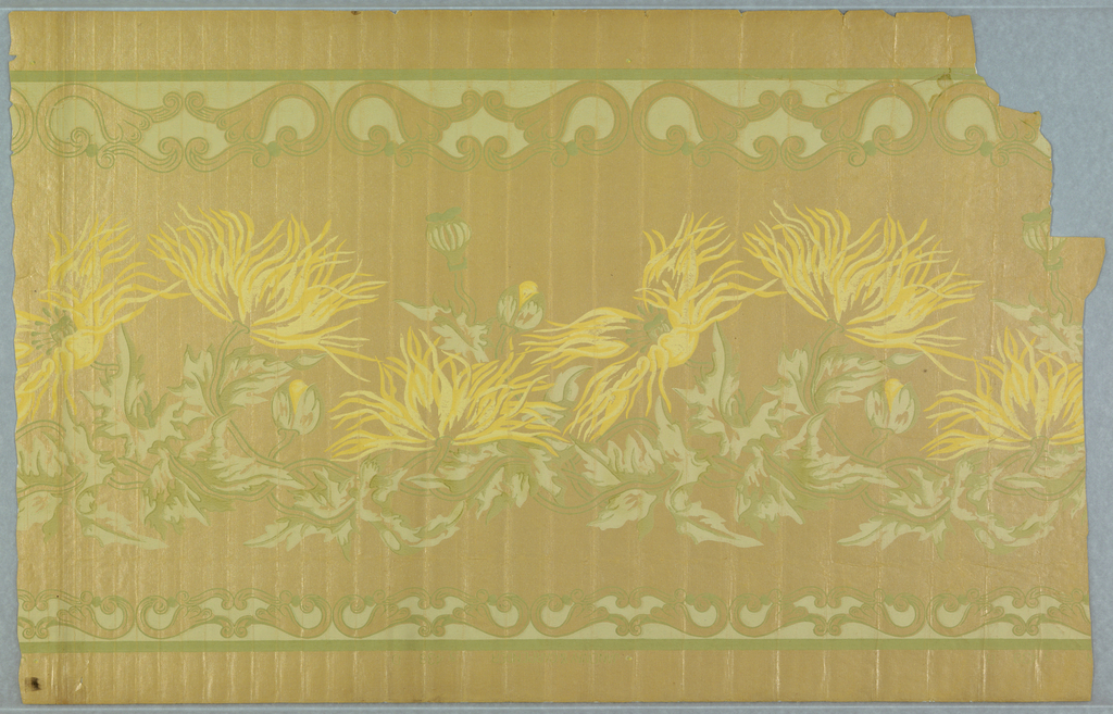 Art nouveau style with poppy flowers in various states of bloom. Bands of stylized floral motifs along top and bottom edges. Printed in green and yellow on a mica ground.