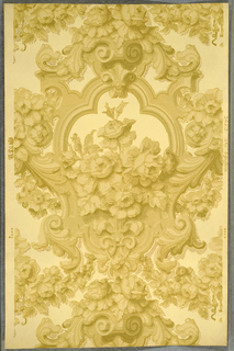 "On cream ground, scrollwork and foliage forming heavy framework for rose bouquet: all in three shades of beige. Printed in margin: ""5423 The Eglistone TS Co (thistle)."