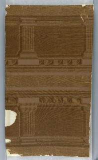 "Simulated oak in shades of brown, to be cut in half to form friezes. Marked: M.H. Birge and Sons Co., U.S.A."" Design, architectural detail."