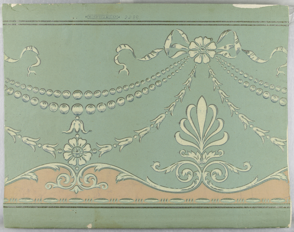 Horizontal rectangle. Festoons of beads and of leaves suspended from fleurons tied with bows. Across bottom, foliate scrolls set with anthemion, and bead-and-reel, with pink band. Cream and silver on light blue ground.