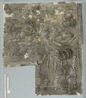 Grisaille paper, white and black pattern on gray. Full repeat not included in fragment. Ruins, fragments of walls, pedestals topped by classical urns and draped statue, in background (not complete) bridge (?) support by arches. Foreground, large, long-tailed pheasant, turkeys, ducks, spindly flowering tree.