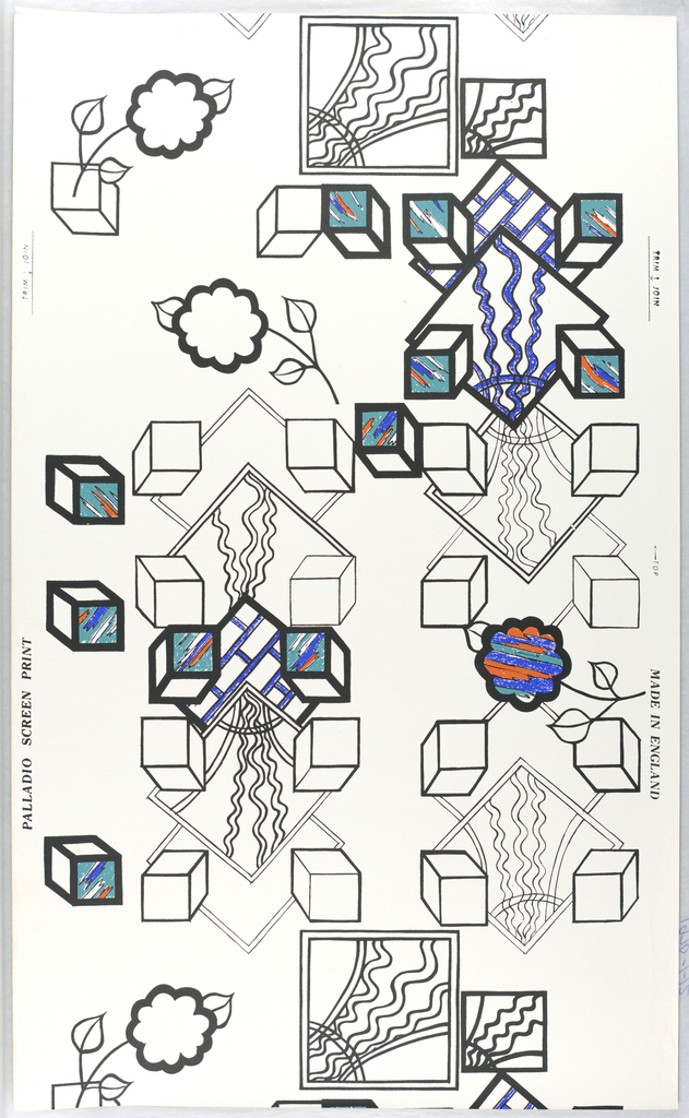 On white ground, squares and box shapes outlined in black. Some filled with abstract shapes in blue and red and turquoise, some colored solid blue.