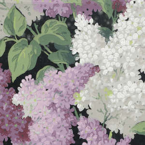 All-over, dense pattern of purple and white lilacs on black ground. Printed in purple, violet, lavender, pink, grey, white and green.