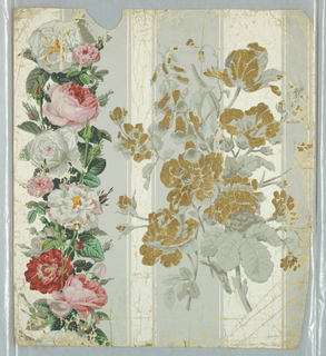 Over white and gray stripes, vertical band of pink and white roses: to the right of this band is cluster of flowers, including tulips, printed in grisaille and metallic gold.