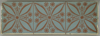 Design is taken from that of an old bandbox. A square encloses a geometric tile design similar to a patee cross with rosettes and flourishes. These squares all adjoin each other. The bandbox design was inspired by peasant European decoration found in Bucks County, Pennsylvania. Design is the same as 1941-113-5.