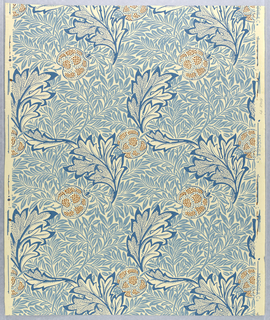 Motifs of apples and oak or acanthus leaves printed in a pointillist-style, with a background pattern of foliated branches. Printed in red and shades of blue on a white ground.