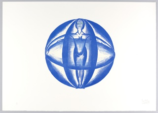 Hoirzontal rectangle. Large royal blue sphere in middle of sheet with nude woman inside, with her arms outstretched to edges of sphere.  Her eyes and mouth are colored green.  Crisscrossing vertical and horizontal elipses envelop woman.