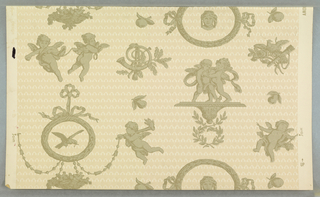 On off-white ground, fill in beige of small contiguous hearts and arrows, over-printed in light brown, isolated cupids, classical heads, laurel, wreaths, doves, trophies.