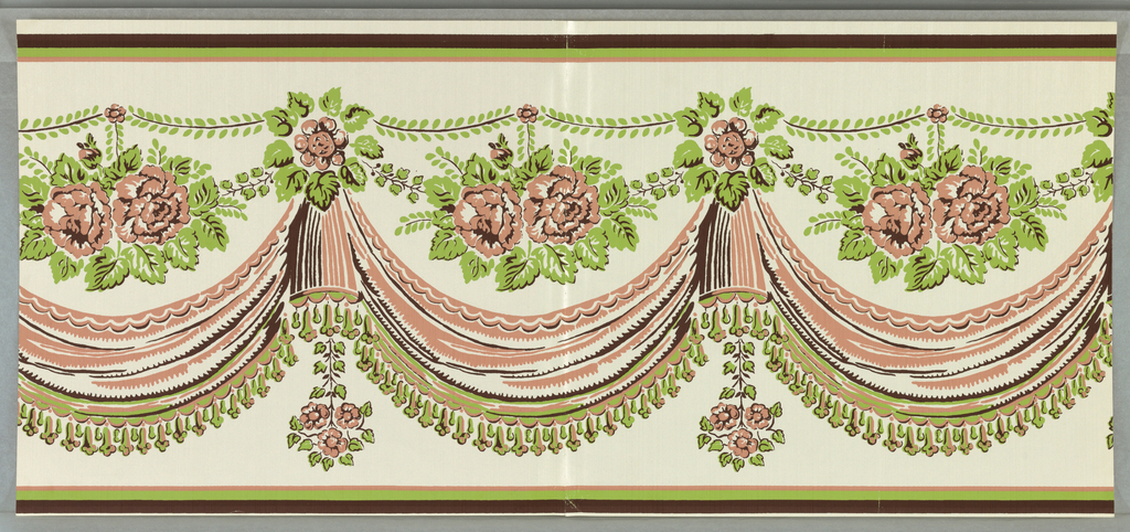 """On white ground simulating woven fabric with sheen. Pink, brown and green roses over draped swags with tasseled fringe. Components a and b are the same and the two pieces are joined together. Printed on back: """"Scalamandre Wallpaper, Inc./ Hand Print/ Pattern no. BD260-4/ Drapery swag with roses/ Repeat 11 1/4 inches/ Depth 13 1/4 inches/ Printed on ground No. wp 1801""""."""