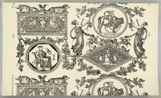 "a) On white ground, black pattern. Arranged in two vertical columns, within festoons, rectangular, circular and diamond enframents for classical figures. Rectangles surmounted by confronted conchant long-haired dogs; b) complementary width, similar arrangement varied: short-haired hound-like dogs. Printed in margin: a) ""strip A joins to strip B""; b) ""__p B joins to strip A."""