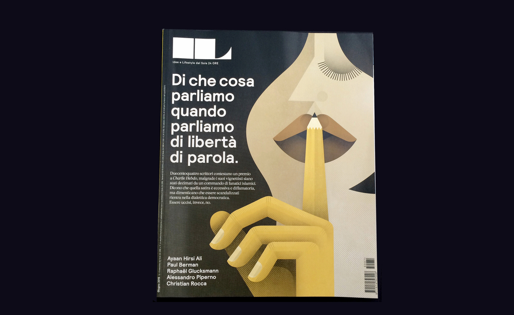 Magazine Cover, Di che cosa parliamo ananda parliamo di libertà di parola (What we talk about when we talk about freedom of speech), from IL, No. 71, June 2015