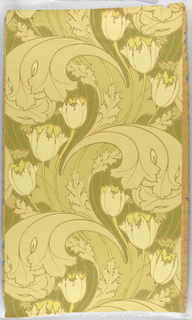 Art nouveau design with large-scale tulips and scrolling acanthus leaves. Printed in shades of yellow and olive green.