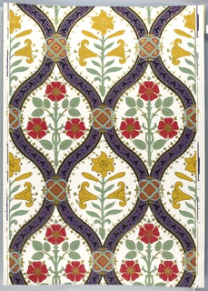 On white ground, meandering purple bandings, lattice-like enframing formalized symmetrical sprigs of yellow lillies, red roses. Pattern out-lined in metallic gold, bandings decorated with metallic gold and black leaf pattern and with red and blue quatrefoil at intersections.