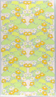 On gray ground, flattened pattern of pale pink and bright orange flowers and leaves in two shades of bright pastel greens.
