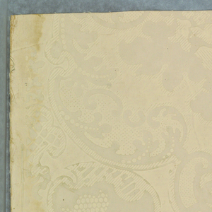 Simulates an old stenciled damask design paper of about 1850. A symmetrical pattern of Chippendale feeling. Luxuriant acanthus leaves in a foliated border enclosing a scroll work center motif. Some parts of the design have narrow diagonal parallel lines, some pin point dots, and others small circles.