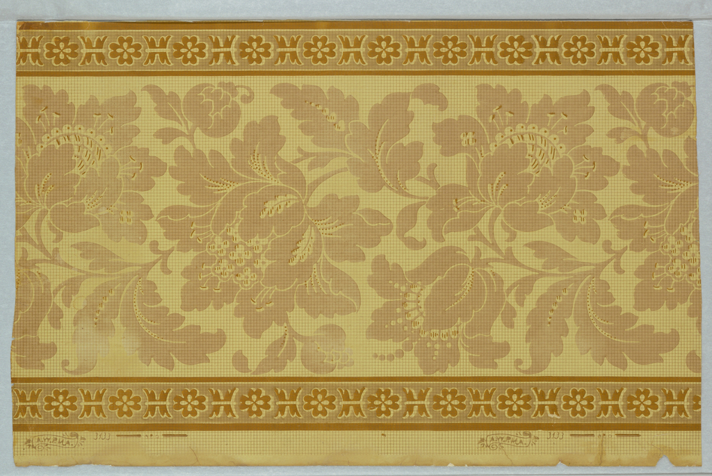 "Brown and tan design on mustard yellow field. Top and bottom identical narrow bands of alternating rosettes and banded reeds. Center consists of a continuous floral scroll with leaves similar to the acanthus. On margin is printed : ""A.W.P.M.A. 3133""."