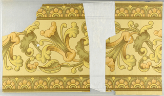 Stylized peach, yellow and olive green flowers.
