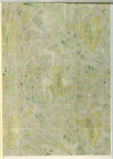 Two joined widths of paper printed with a repeating design of flowers and foliage rinceaux. Printed in gray, green, brown and yellow on machine made paper with satin ground.