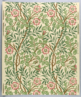 Vertical symmetry with branches with thorns, flowers and two different types of leaves. Printed in green, brown, pink and red on cream ground.