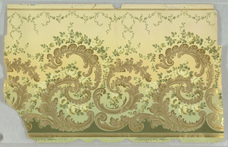 Frieze on off-white ground,metallic gold feathered c-scrolls encircled by tan and brown roses and green leafy stems; at the bottom arching sprigs of green leaves and tiny gold flowers.