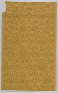 Stylized art nouveau foliate pattern in ochre on lighter shade of mustard- colored paper, ungrounded.
