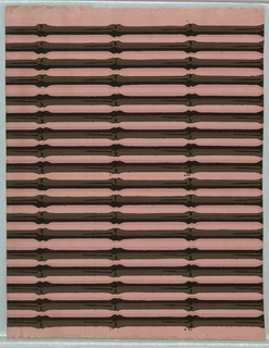 Black parallel bamboo strips on pink ground. Two borders to a width. Shading of strips changes direction approximately half way across each border.