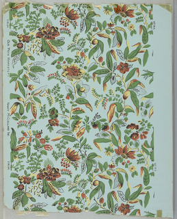 All-over vining floral pattern printed on blue-green ground.