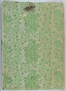 Green flowers and vines. Printed on green ingrain paper.