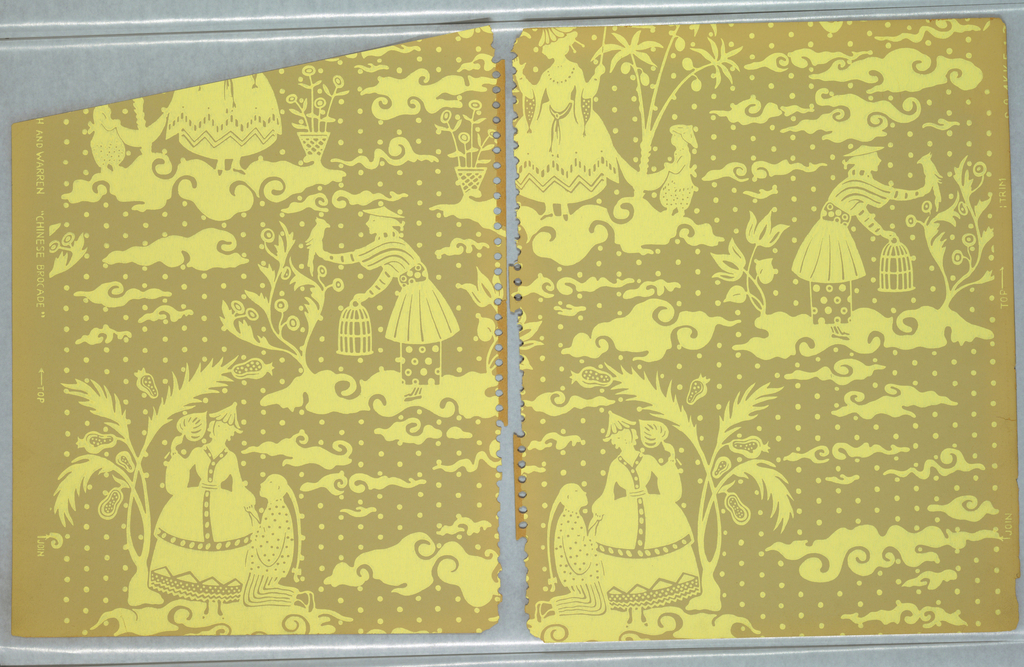 Pattern of fantastical chinoiserie scenes cut out like shadow puppets on a background of polka dots; entire pattern is in a single shade of yellow on a light brown ground; two scenes, one of an old man fishing while seated on a table with vase of flowers and the other of a young man with a ponytail kneeling and wooing a woman with a full-skirted dress, hat, and parasol.
