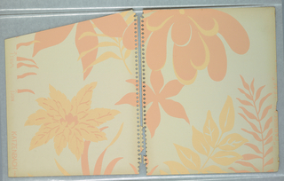 Stylized large-scale flower and palm leaf motifs scattered irregularly on off-white ground; the motifs are all unique; some of the motifs are salmon color and others light ocher; occasionally the salmon motifs are highlighted in ocher and vice versa.