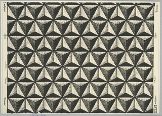 """Horizontal rows of triangles arranged in patterns. The colors in each triangle are graded. The patterns also combine in such a way as to give the appearance of diagonal rows. """"a"""" is printed white on gold ground; """"b"""" has black on white ground. Straight across match."""