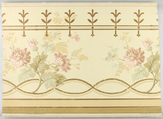 Cream ground, sprays of chrysanthemums in old rose and olive shades. Conventional border in bronze, Mica finish.