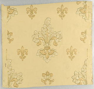 Large-scale fleur-de-lys, with acanthus leaf detailing, alternating with smaller unadorned fleur-de-lys. Printed in tans and white on tan ground.