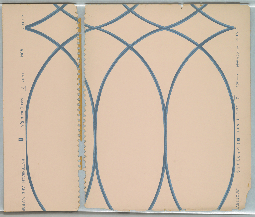 Motif of two s-curves overlaid diagonally then repeated horizontally with overlap forming pattern with diamonds and pointed arches; curves formed of thin blue bands; ground is pinkish tan.