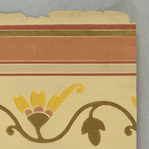 "This design simulates a stencil design and consists of three identical borders running parallel with selvedge. Latter is marked ""Robert Graves Co. 1581"".  Field is beige color with a vine in wave-like formation with single flower in orange and cinnamon. Vine and three petaled leaf between each flower in gold bronze. Narrow gold band at bottom. Graduated bands at top of henna, gold, cinnamon, and gray, respectively."