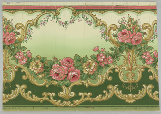Flitter frieze with graduated background shading from tan to green. Gold mica flakes scroll framing garlands of pink roses.