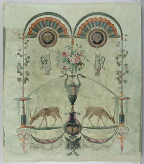 Vertical rectangle. Fountain from which drink confronted reindeer with lowered heads. At top, arch with radiating fluting, from which hang two harps. This is the top portion of a much larger arabesque design.