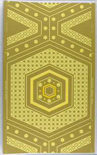 On khaki-colored ground, large hexagon in two shades of yellow, grid filled with circles; bright yellow triangles; flower forms with bright yellow centers.