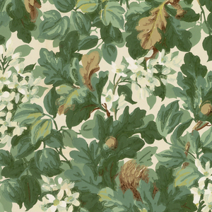 """View of an oak tree containing a squirrel holding an acorn. Tree also contains attached acorns and white flowers. Printed in green, brown and white on tan ground. Printed in left selvedge: T.S. & Co. (thistle logo); in right selvedge: """"The Wayside 2864""""."""