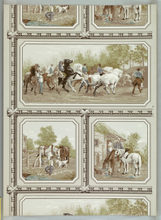 "One large and two small rectangles alternating, containing scenes from a horse fair (the larger a free copy of Rosa Bonheur's ""The Horse Fair""). Heavy bead and reel molding separating rectangles. a) Predominantly beige and brown on gray; b) predominantly green and beige on beige."