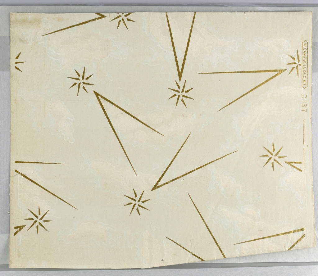"""Light gray moire ground with gilt stars and dashes. Marked """"W. Campbell and Co., No. 3197""""."""