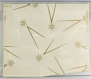 "Light gray moire ground with gilt stars and dashes. Marked ""W. Campbell and Co., No. 3197""."